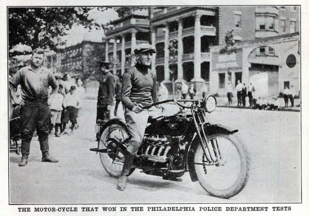 """A photo appearing in a November, 1922 trade publication accompanied the report on the recent time trials held in Philadelphia. Flying along a one-mile stretch of reportedly """"rough, wavy pavement,"""" an Ace motorcycle won the two speed tests conducted by the city's police department while shopping for their next police bikes. The Ace completed the half-mile course in 4 minutes 11 4/5th seconds, taking top honors that day."""