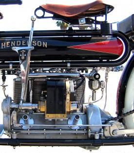 The 100-plus-year-old ad comes to life. Henderson brought out its new 57 cubic inch (934cc) four-cylinder in 1912. Its engine was started with a hand crank.