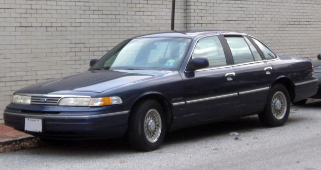Some cars go as good as they look. Some cars go better than they look. Then there's the Crown Vic, which is worse than it looks, and it looks awful. Still, you can get a foot of air under the tires if you bury the gas pedal at about 35 mph right here.