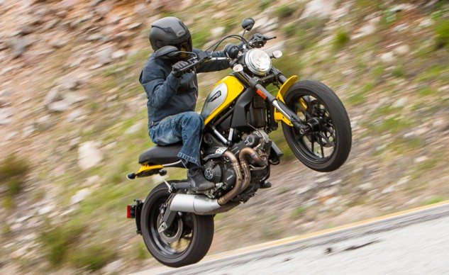 In true scrambler fashion, the Icon – as well as Ducati's other scrambler models – are (to some degree) 796 Monsters in scrambler drag. The Icon's modernity shows, as it outperforms the Triumph everywhere except for in the dirt.