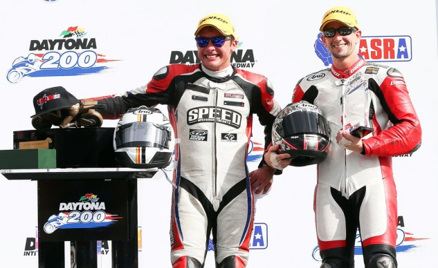 Danny Eslick (left) eked out a narrow victory over polesitter Geoff May (right) in the 2015 edition of the Daytona 200. Note the dearth of sponsor patches on their leathers.