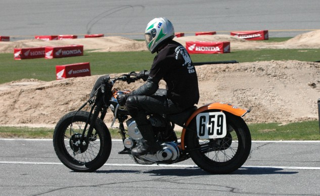 One of 18 hand-shift Harleys shipped from Australia to ride the high banks during the Daytona 200 week.