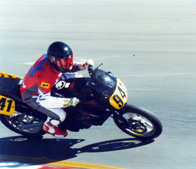 Author not showing good form in one of his first races, Sonoma Raceway c. 1994.