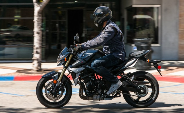 The seating position is comfy with footpeg-to-seat ratio just a little tight for my 5-foot, 11-inch frame – but that keeps cornering clearance acceptable (see image below). The Gixxus seat is wonderfully supportive and comfortable.