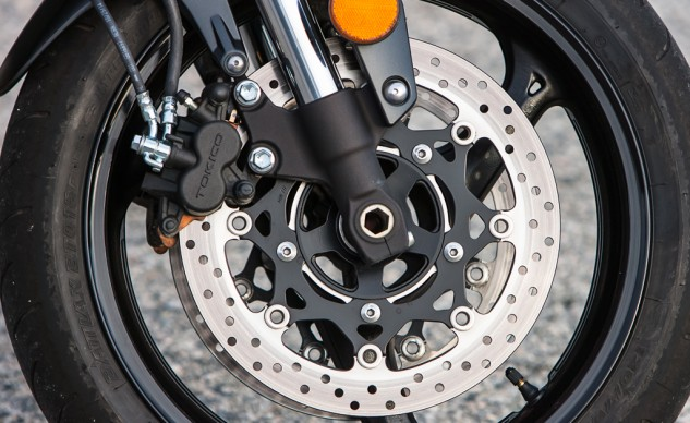 No apparent reason for the brakes being as weak as they are. Fork is of the inverted variety, and it keeps the front end in order even when the pace gets hot.