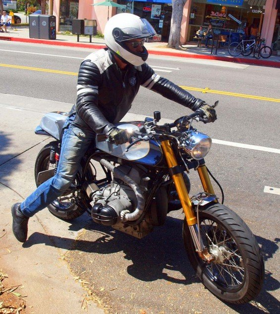 """Custom café BMW built for Deus ex Machina by its bike builder """"Woolie"""" who was featured in the film."""