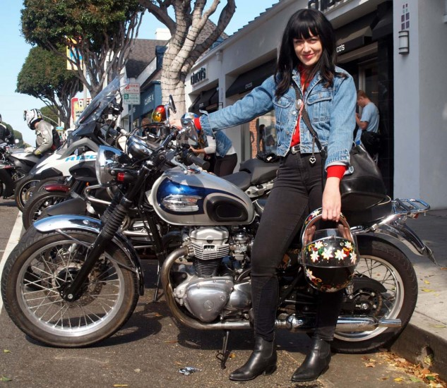 Jen McClain is seen in the dirt track segment in the flick. She rode in on her Kawi W650 and works at The Mighty Motor, an L.A. motorcycle-related collective that designs bikes, makes films, brands bike product, you name it.