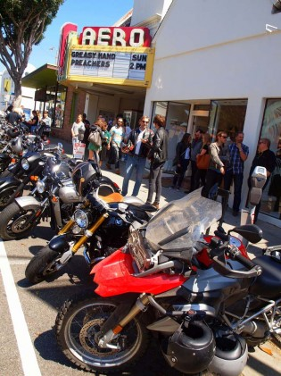 Preferred free biker parking in posh Brentwood lined up for 2pm Sunday premiere.