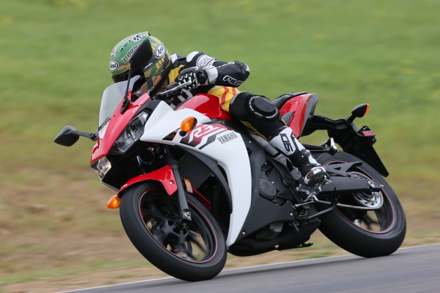 From big to small, an R-series Yamaha has to be able to hold its own on a racetrack. The R3 succeeds in that mission.