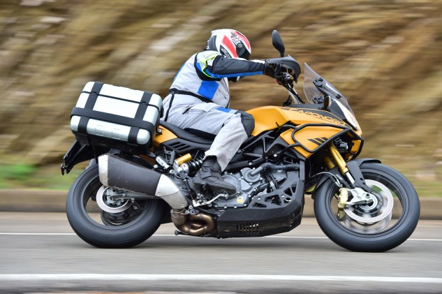 Aprilia's Dynamic Damping feature transforms the ride quality of the Caponord Rally.