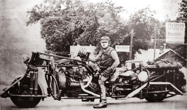 """Wild Bill Gelbke wasn't the first guy to mount beer cans on his machine, but he was probably the coolest. Will the Project Swillmore machines draw other cues from his """"Roaddog""""?"""
