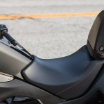 The backrest converts to the pillion with a turn of the ignition key.