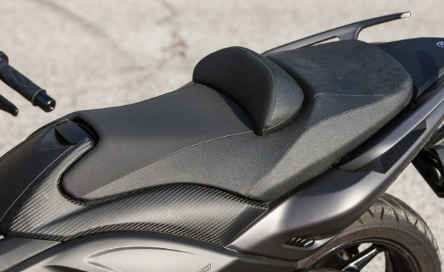 The seat may be high, but it allows for the TMAX's ample ground clearance.