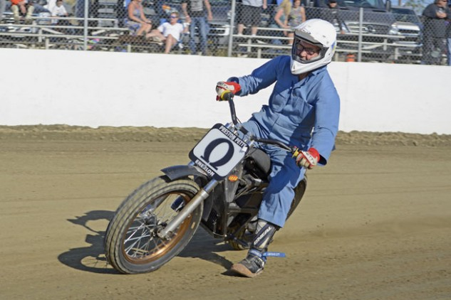 AMA Hall of Fame member Preston Petty skids his Zero electric motorcycle into a corner during a Southern California Flat Track Association meet at Perris Raceway. Petty, 74, has always favored technology over tradition. He is the first motorcycle racer to adapt an electric bike for use in flat-track racing. Photo by Scott Rousseau