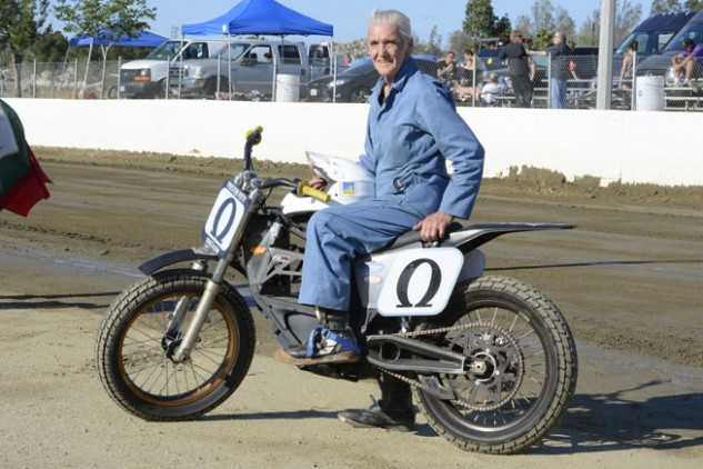 Clad in his blue coveralls, Preston Petty can easily be spotted whenever he attends a motorcycle racer, although he is rarely heard. With little more than a whine from his Zero's electric motor, he is often able to swoop past his competition before they even know he is behind them. Photo by Scott Rousseau