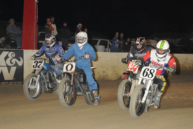 Petty regularly battles with a pack of competitors on gasoline-powered motorcycles at Perris Raceway, and he often wins. Photo by Janice Blunt