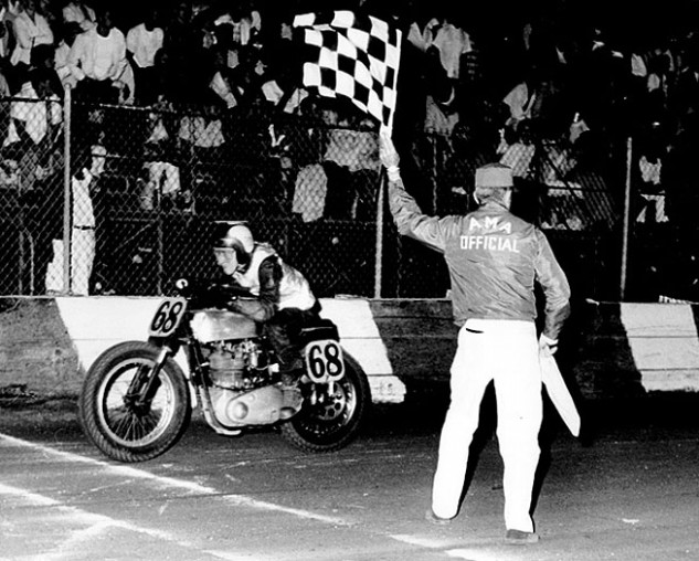 Preston Petty crosses the finish line on his BSA Gold Star at Southern California's Ascot Park in 1961. Petty led all Novices in 1960 and might have won the track championship if he hadn't elected to go on a long vacation in Europe with his father. Photo by Dan Mahony