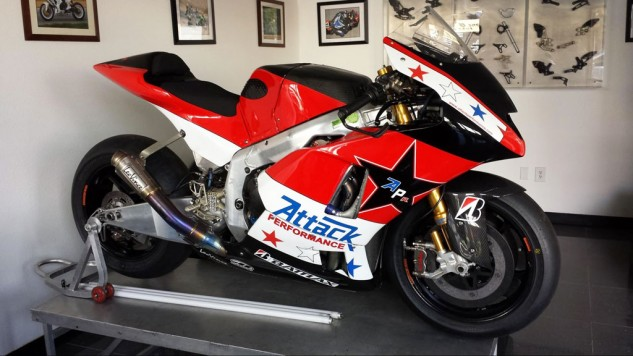 Attack Performance built this one-off racebike in 2013 to compete in American MotoGP rounds. Billet aluminum makes up the frame and chassis, while a heavily modified Kawasaki ZX-10R motor delivered 230 hp.