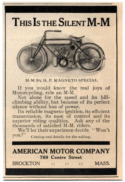 When the Marsh Motorcycles merged with the Metz Company to form the American Motor Company, the collaboration formed Marsh-Metz abridged as M-M or M.M.