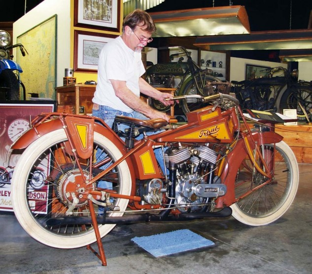 Dale Walksler tidies his pride and joy, the Traub a stand-out amongst his incredible collection of American motorcycles at his Wheels Through Time Museum in Maggie Valley, CA.