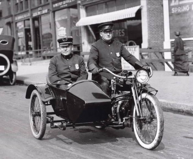 Police Cruiser - Indian sidecar combo on patrol