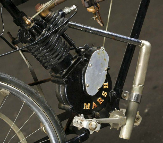 The direct link to its bicycle ancestry can be seen in the pedal needed to get it started.