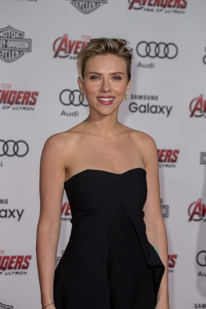 Actor Scarlett Johansson attends the premiere for Avengers: Age of Ultron at the Dolby Theatre. Johansson plays Natasha Romanoff/Black Widow, the character who rides Harley-Davidson's LiveWire electric motorcycle in the film.