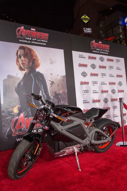 The Harley-Davidson LiveWire electric motorcycle hangs out on the red carpet that blanketed Hollywood Boulevard during the premiere of Avengers: Age of Ultron. In the film the Live Wire makes a dramatic appearance by leaping out of Iron Man's Quinjet attack aircraft.