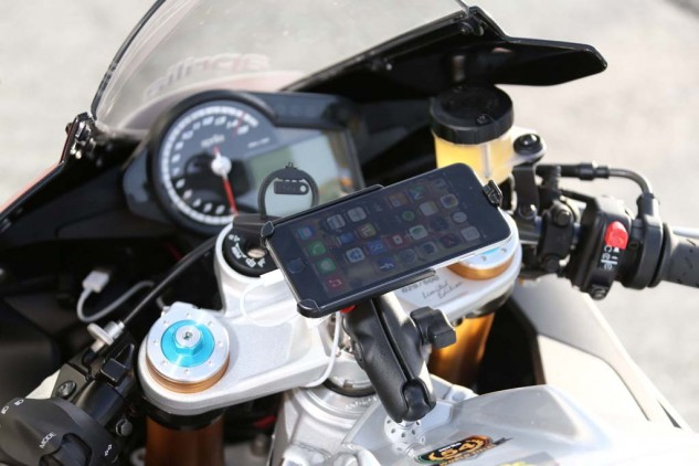 One aspect of this launch was unprecedented: the test bikes were fitted with iPhones! Aprilia's V4 Multimedia Platform app connects the RSV4 to smartphones and, then, the motorcycle to the internet!