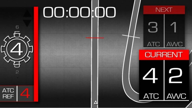 "Here is one of many screens that can be displayed on your smartphone from the V4-MP app. On the left is gear position, and a lap-time readout can be seen up top. Big deal. But the mind-blowing aspects can be seen on the right. Aprilia Traction Control is currently set to the fourth position, while Aprilia Wheelie Control is set to its second of three choices. It's the ""Next"" category above that astonishes. Your phone uses its GPS function to know where you are on track, and you can set the app to change the RSV4's TC and WC settings at various points around a racetrack! In the Next section here, perhaps the track has more grip and higher speeds, requiring less TC and WC."