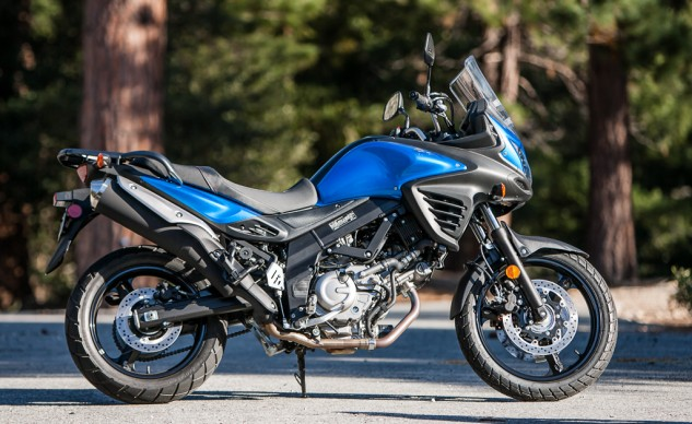 It's fitting that the V-Strom is the most likely to become involved in an abusive off-road relationship, since it's already the most agrarian looking. A good skidplate to shield its exposed organs is a necessity, as it is on the others.