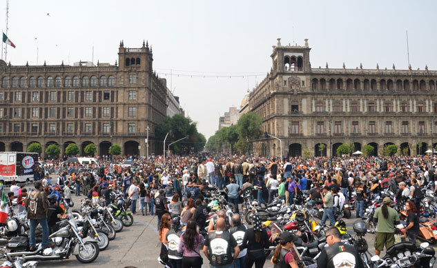 As part of Harley-Davidson's global 110th anniversary celebration, over 5000 motorcyclists descended upon Mexico City to join in the festive occasion, making this Mexico City's largest motorcycle parade in history.