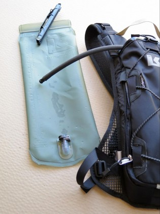 You got your heavy-duty 3-liter wide-mouth bladder with quick-disconnect hose, which is easy to fill and reseal without removing it from the backpack.