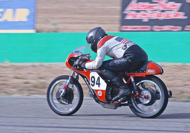 Rusty Lowry displays both color-matched leathers and two suspension sponsors on his Harley Sprint.