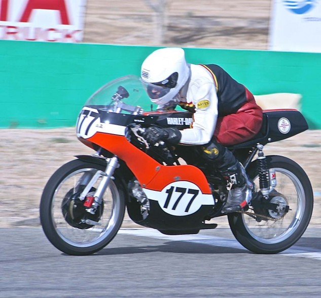 Walt Fulton from the Streetmasters school rode a Harley/Aermacchi Sprint to a race win.