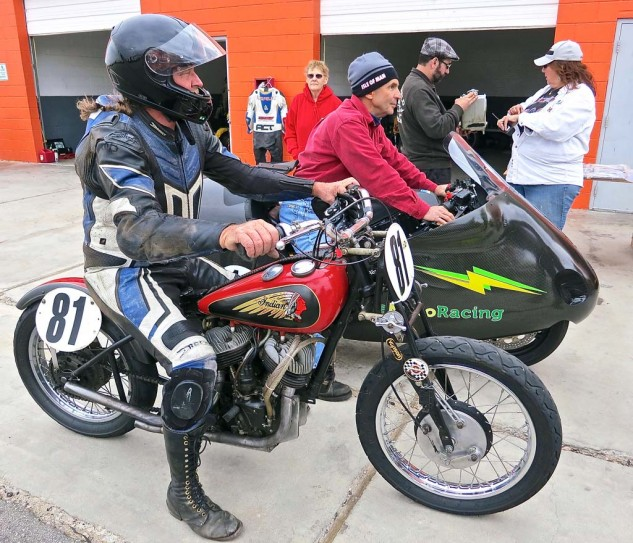 AHRMA tech inspection, where past, present and future come together. Ralph Wessell of Florida on his Indian had the only entry in the Class C Handshift class.