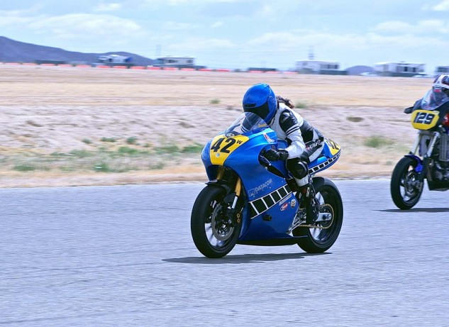 Wendy Newton had a good start on her Yamaha 450, a former Roland Sands supermoto project bike modified for roadracing.