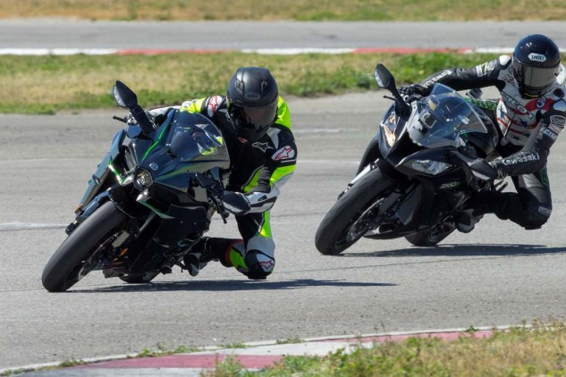 This ZX-10R was serving only as a camera platform. The H2's ergos are slightly more relaxed than a 10R.