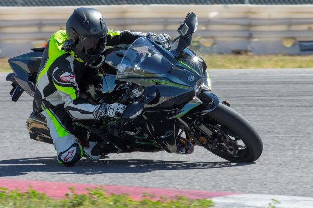 In corners, it's best to carry a gear high and rely on supercharged torque to carry you out rather than dealing with abrupt throttle response at high revs. In the simplest terms, the H2 steers like a heavy ZX-10R or a very light ZX-14R, although there's a lot more to the equation than just mass.