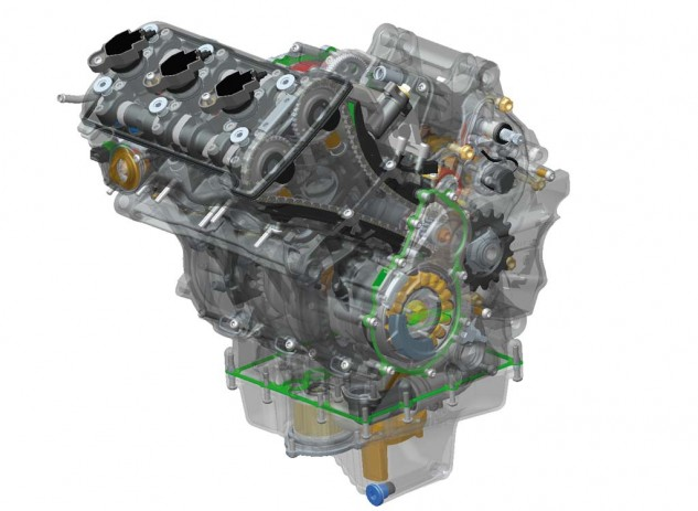 """The mostly-new """"touring"""" version of the F3 800 engine was re-engineered to enhance low- to mid-range torque and is notably graced by an extended 15,000km service interval.  It also makes an entertaining mountain of midrange torque."""