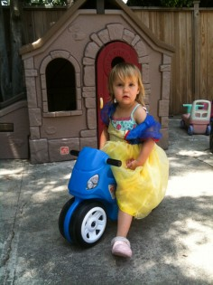 Snow White on a motorcycle