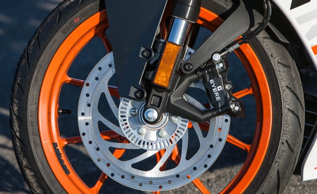 With its braking components designed by Brembo, including radial-mount caliper, steel-braided lines and standard ABS, one would think the RC would have stellar stopping power. Unfortunately, the KTM's brakes are disappointing.
