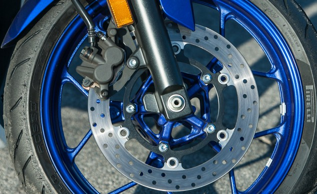 The Yamaha's stopping power is decent, though feel could be a little better. The R3 stands out in this grouping because it's the only one not offered with ABS, even as an option.