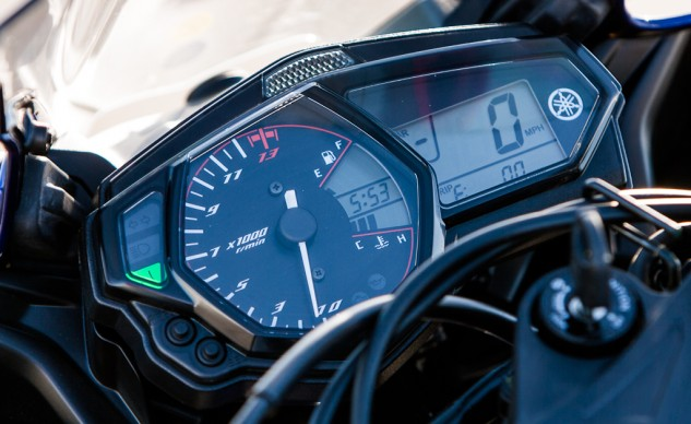 An analog tachometer dominates the view from the R3's gauge cluster, its needle easy to read even in glaring sunlight. We liked that Yamaha also included a gear position indicator on its entry-level sportbike; the costlier KTM was the only bike also equipped.
