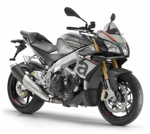 American Tuono 1100 RRs will be shipped in Portimao Gray for arrivals in July. Also new on the Tuono 1100 is a tailsection derived from the RSV4. Brakes remain Brembo M432 monoblocks but utilize a new pad material for sharper bite. The Bosch 9MP antilock system includes rear-lift mitigation and is adjustable to three levels plus off.
