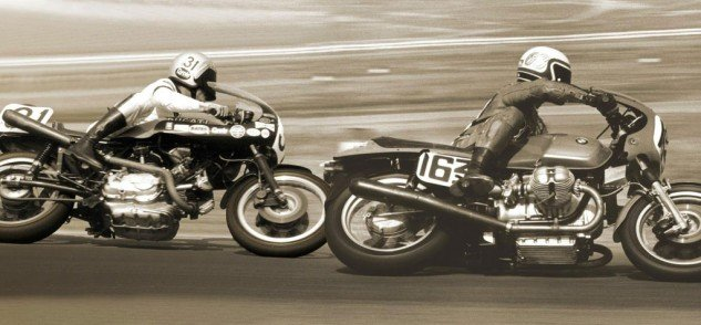 The Ducati-mounted Cook Neilson chases Reg Pridmore's BMW at Riverside Raceway in 1976.