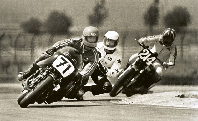 Ritter at Sears Point, followed by Ed Unini's Honda and the Triumph of Jim Haberlin.