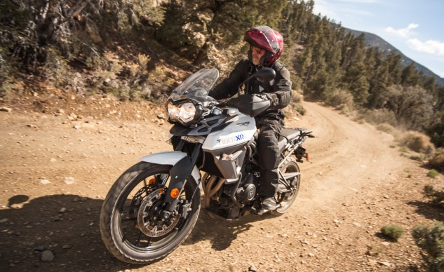 Triumph XRs are the streetier versions of the 800, but the bike's 19-inch front wheel, bash plate and high pipe all help make it a much better off-roader than the FJ-09.