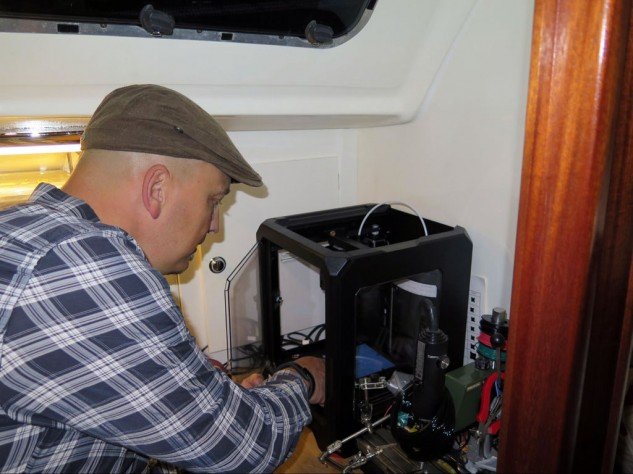 "There probably aren't a lot of guys that have a 3D printer in the ""workshop"" of their sailboat."