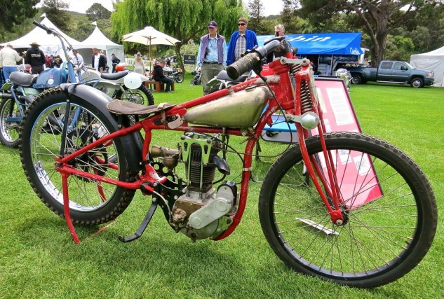 """This 1927 Indian factory bike was raced by Cliff """"Slippery"""" Hill of Spokane, Wash. The overhead-valve racers were produced in 350cc and 500cc versions."""